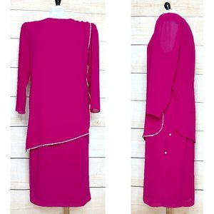Vintage 80's Fuchsia Dress w/ Crystal Trim Overlay